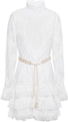 Zimmermann Shell-embellished Tiered Broderie Anglaise Gauze And Lace Mini Dress