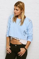 American Eagle Outfitters Don't Ask Why Destroyed Crop Sweatshirt