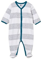 Petit Bateau Grey Wide Stripe Velour Babygrow with Contrast Trims