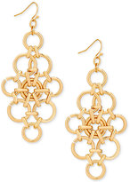GUESS Gold-Tone Circle Link Chandelier Earrings