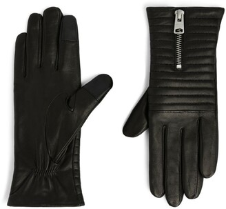 AllSaints Leather Estela Quilted Gloves