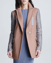 Rebecca Taylor Leather-Sleeve Felt Coat
