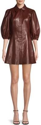 Ganni Quarter-Sleeve Leather Shirtdress