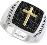 Effy Balissima by EFFYandreg; Men's Black Sapphire Cross Ring (1-1/4 ct. t.w.) in Sterling Silver and 18k Gold