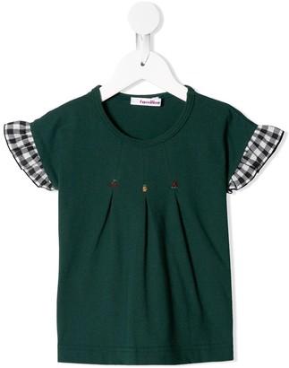Familiar contrast-sleeve beaded T-shirt