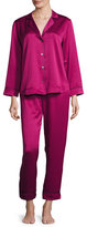 Oscar de la Renta Matte Satin Two-Piece Pajama Set, Berry