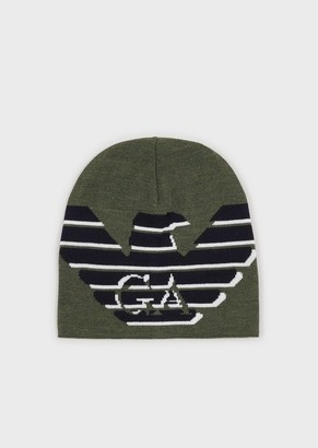 Emporio Armani Wool Beanie With Oversized Eagle