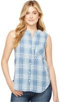 Dylan by True Grit - Genuine Indigo Linens Hayley Sleeveless Shirt Denim Small Plaids Women's Clothing