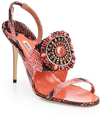 Manolo Blahnik Ronda Jeweled Snakeskin Sandals