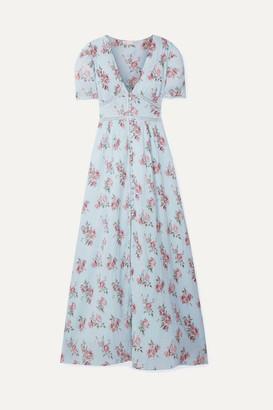 LoveShackFancy Stacy Lace-trimmed Floral-print Cotton-crepon Maxi Dress - Light blue