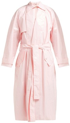 Emilia Wickstead Yves Lacquered-cotton Trench Coat - Womens - Pink