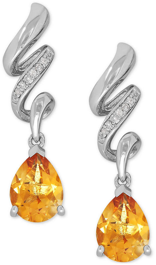 Macy's Citrine (1-9/10 ct. t.w.) and Diamond Accent Twist Drop Earrings in Sterling Silver