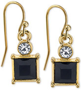 2028 Gold-Tone Square Stone and Crystal Drop Earrings