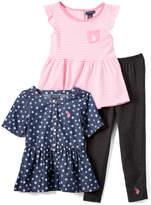 U.S. Polo Assn. Aurora Pink & Navy Floral & Stripe Top Set - Infant, Toddler & Girls