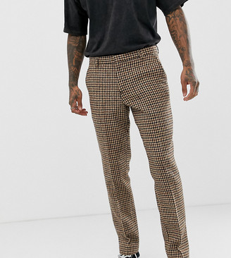 Heart N Dagger slim suit trouser in charcoal harris tweed-Grey
