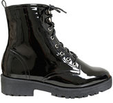 Yours Clothing Black Patent Lace Up Boots In EEE Fit