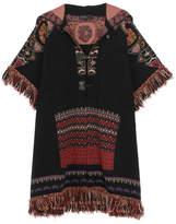 Etro Fringed Hooded Jacquard-knit Wool-blend Jacket