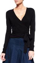 Diane von Furstenberg Ballerina Long-Sleeve Wrap Cardigan, Black