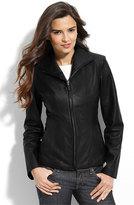 Cole Haan Petite Women's Lambskin Leather Scuba Jacket