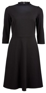 Dorothy Perkins Womens Black 3/4 Sleeve Fit And Flare Cotton Blend Dress, Black