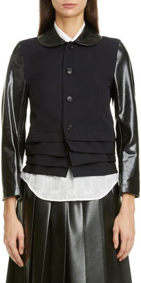 Comme des Garcons Laminated Contrast Layered Hem Crop Wool Jacket