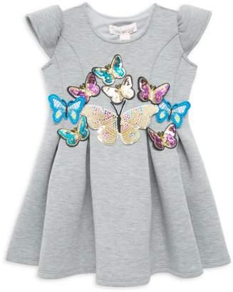 Halabaloo Little Girl's Scuba Butterfly Dress