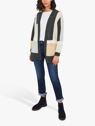 White Stuff Colour Block Cardigan, Mid Tan/Multi