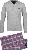 Boss Grey Marl & Red Tartan Long Sleeve Pyjama Set