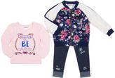 Little Lass Navy Floral Varsity Jacket Set - Infant