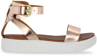 Mia Ellen Metallic Vegan Leather Flatform Sandals