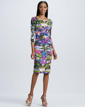 Nicole Miller Three-Quarter Sleeve Floral-Print Dress
