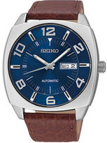 Seiko Recraft Series Leather Strap Stainless Steel Watch