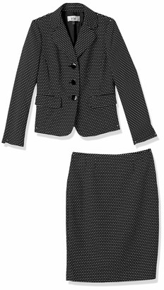 Le Suit LeSuit Women's Novelty DOT 3 Bttn Notch Lapel Skirt Suit