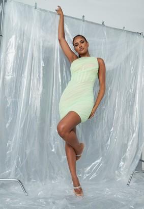 Missguided Green Mesh One Shoulder Mini Dress