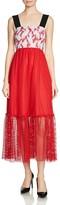 Maje Ramila Mixed-Media Midi Dress