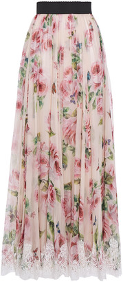 Dolce & Gabbana Embroidered Tulle-trimmed Floral-print Silk-blend Gauze Maxi Skirt