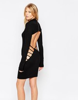 Club L Bodycon Dress With Extreme Cut-Out Back