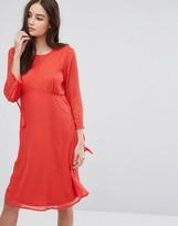 Vila long sleeve spotty mesh swing midi dress in red