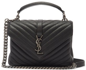 Saint Laurent College Medium Quilted-leather Cross-body Bag - Black