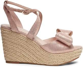 Kate Spade Thelma Metallic Leather Espadrille Wedge Sandals