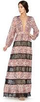 Alice + Olivia Daren V-Neck Stripe Paneled Maxi Dress