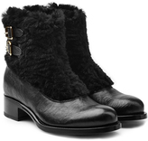 Rupert Sanderson Leather Ankle Boots with Fur