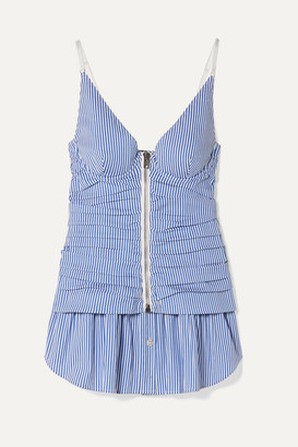 Alexander Wang Ruched Striped Cotton-blend Peplum Camisole - Light blue