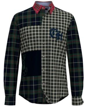 Tommy Hilfiger Men's Oliver Custom-Fit Th Flex Stretch Pieced Colorblocked Plaid Shirt