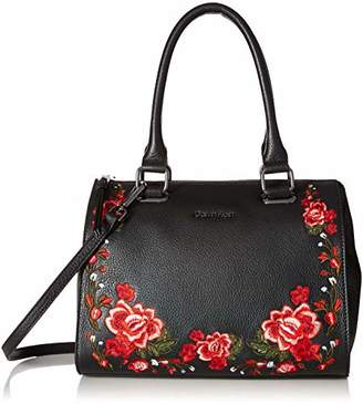 Calvin Klein womens Halle Pebble Leather Floral Embroidery Top Zip Key Item Satchel