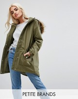 Noisy May Petite Parka Jacket With Faux Fur Trim Hood