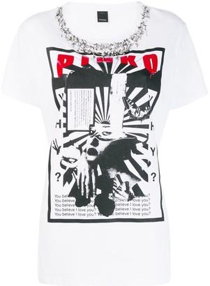 Pinko sequinned graphic print T-shirt