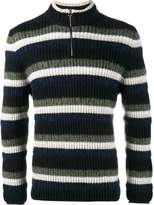 Helen Lawrence striped wool, mohair and lambswool half-zip jumper