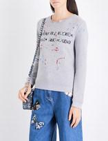 Valentino Text-print embroidered jersey sweatshirt