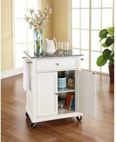 Crosley 28-1/4 in. W Solid Granite Top Mobile Kitchen Island Cart in White